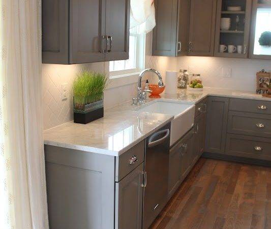 Grey Cabinets White Marble Counters Love Wood