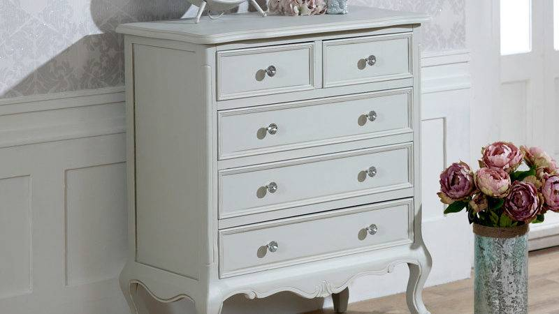 Grey Chest Drawers French Shabby Chic Ornate Crystal
