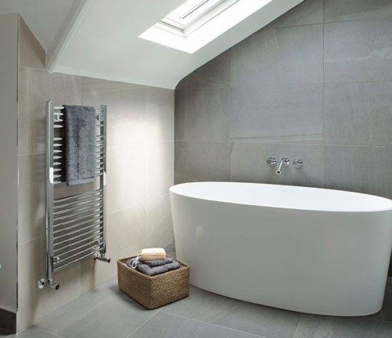 Grey Cream Tiled Modern Bathroom Spa Style