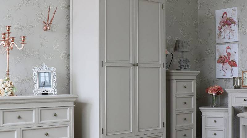 Grey Double Wardrobe Shabby Vintage Chic Country Bedroom