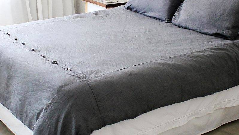 Grey French Linen Duvet Cover Double Trousseau