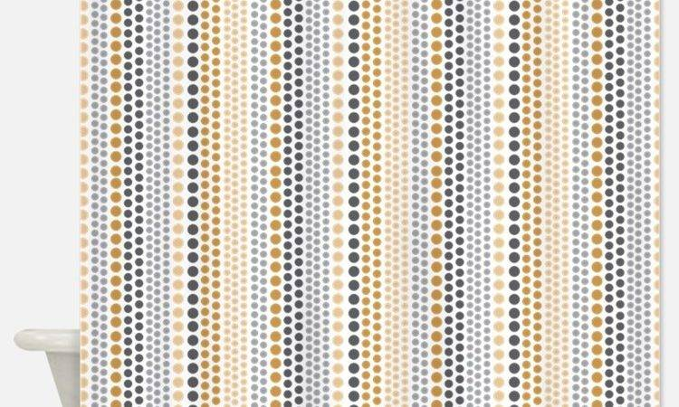 Grey Gold Shower Curtains Fabric