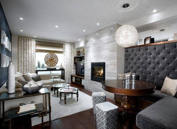 Grey Gray Blue White Living Room High Button Backed