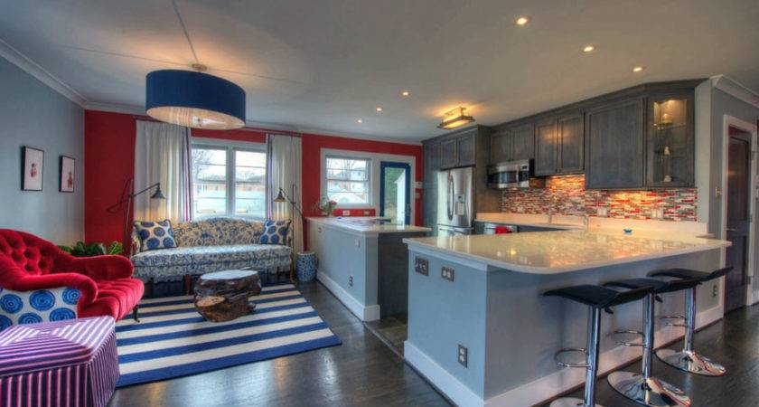 Grey Kitchen Cabinets Red Accents Quicua