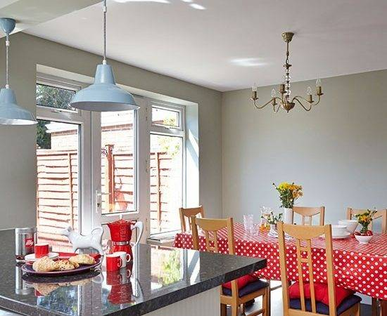 Grey Red Kitchen Diner Decorating