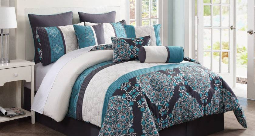 Grey Teal Blue Floral Embroidery Queen Comforter Set