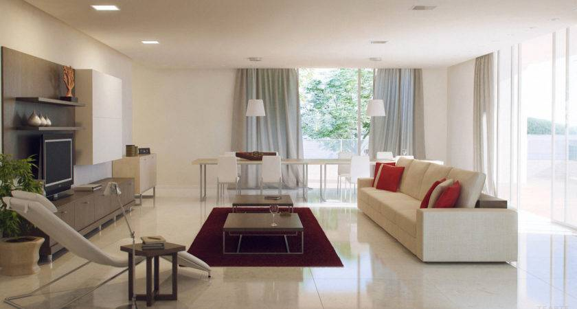 Grey White Red Living Room Interior Design Ideas