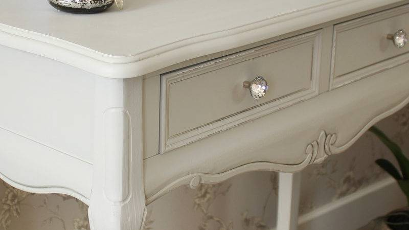 Grey Wooden Ornate Console Dressing Table Shabby French