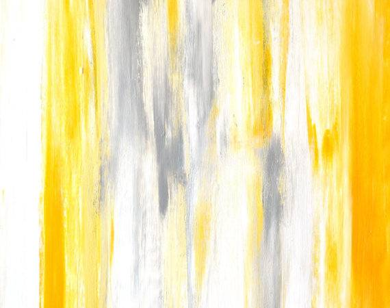 Grey Yellow Abstract Art Painting Etsy