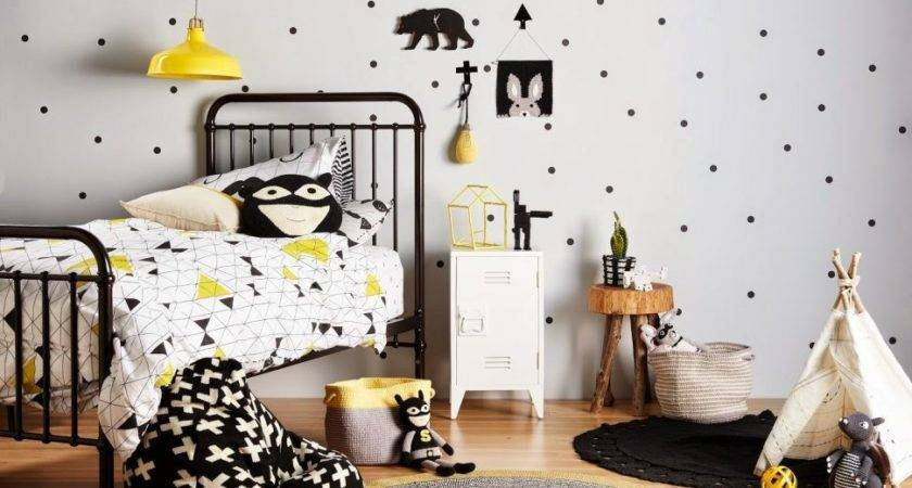Grey Yellow Black Bedroom White Wall