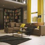 Grey Yellow Brown Living Room Home Combo