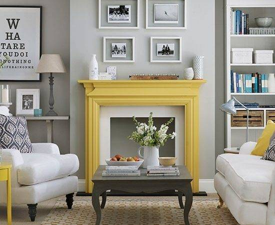 Grey Yellow Living Room Decor Decorating