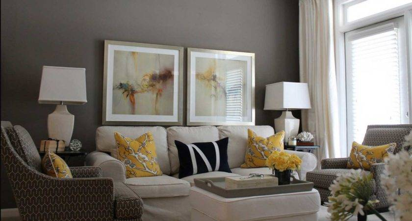 Grey Yellow Living Room Ideas White Curtain