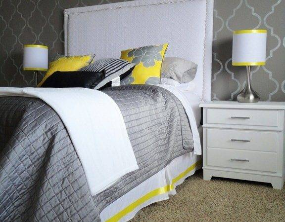 Halcyon Wings Yellow Grey Bedroom