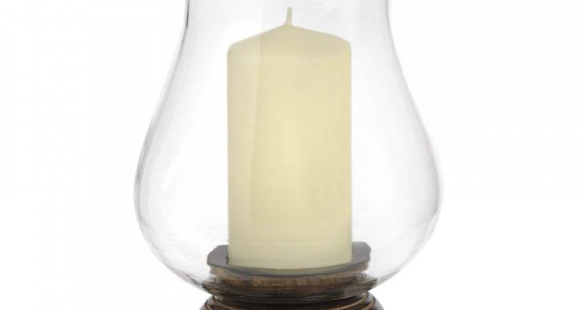 Hand Carved Wooden Glass Hurricane Lamp