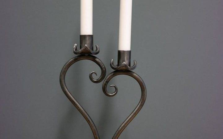 Hand Forged Heart Design Candle Holder