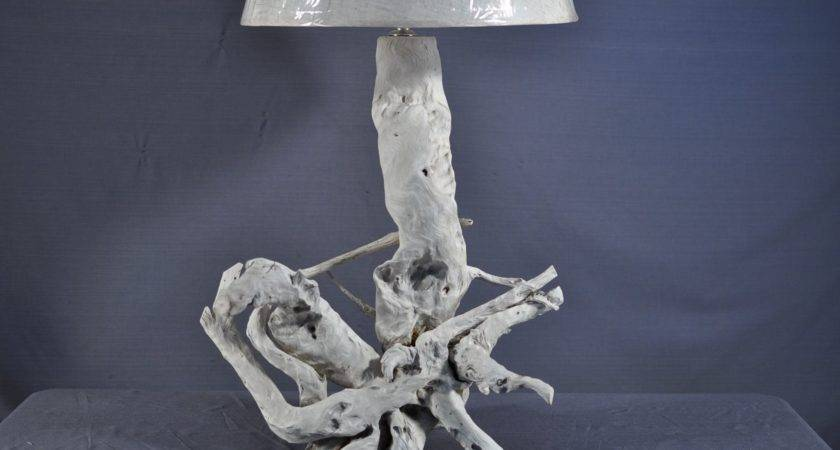 Hand Made Sun Bleached Driftwood Table Lamp