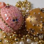 Handmade Pink Gold Christmas Tree Ornaments
