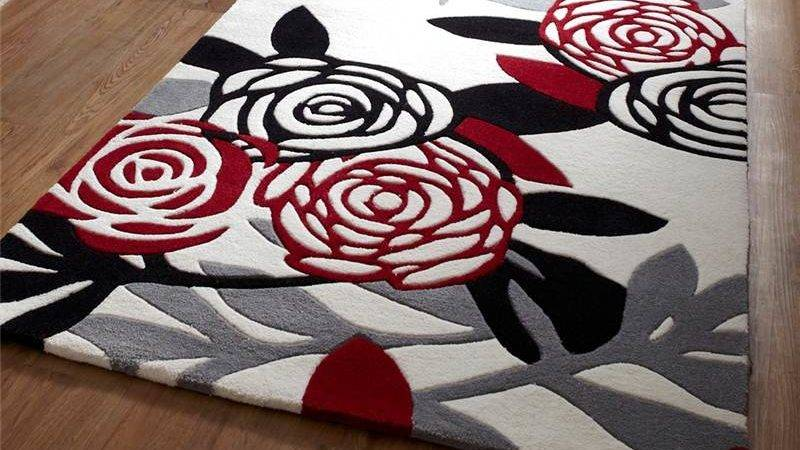 Handtufted Acrylic Rugs White Black Grey Red