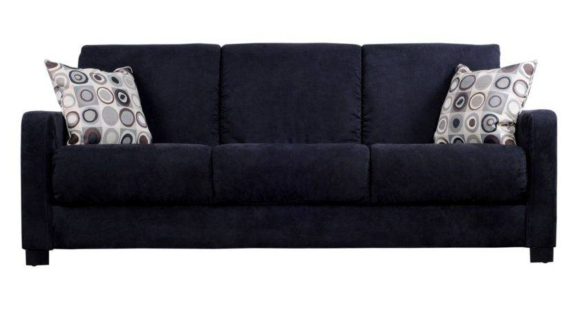 Handy Living Tahoe Black Microfiber Convertible Sofa