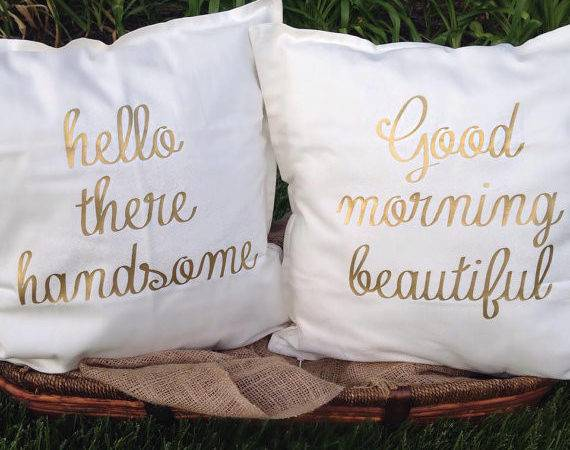 Hello There Handsome Good Morning Beautiful Gold Pillows