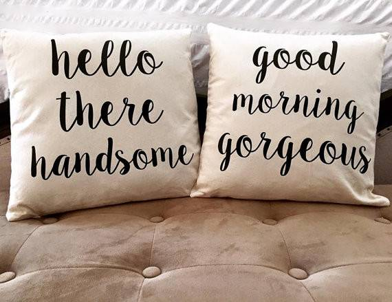 Hello There Handsome Good Morning Gorgeous Set Pillow