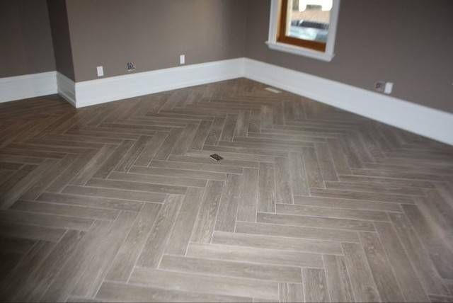 Herringbone Yes Its Tile Hardwood Modern Room