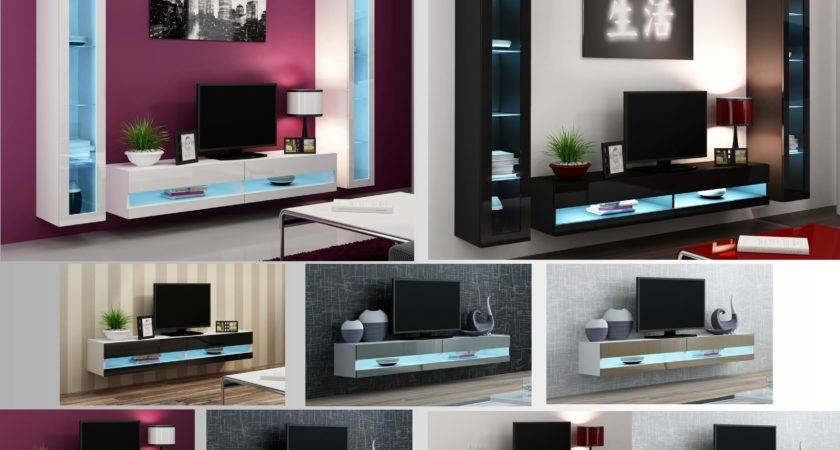 High Gloss Living Room Furniture Stand Wall Mounted