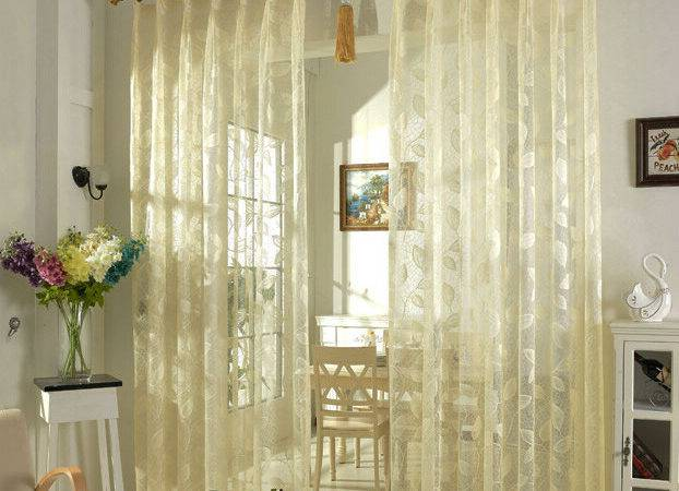 High Quality Beige Color Elegant Lace Sheer Curtain Panels