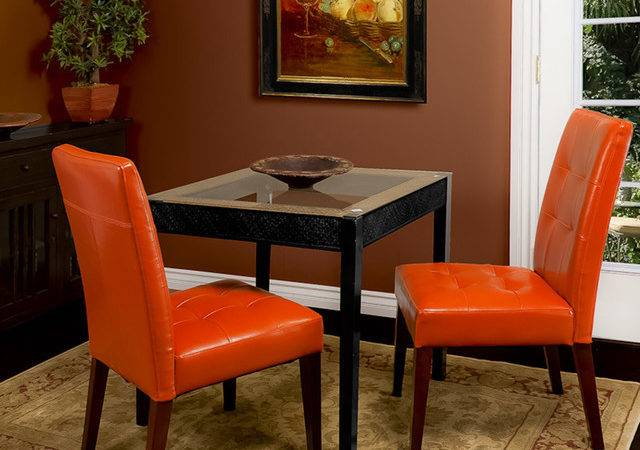 Highland Burnt Orange Leather Dining Chair Set