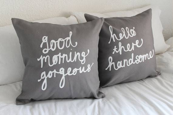 His Hers Pillow Covers Grey Inch