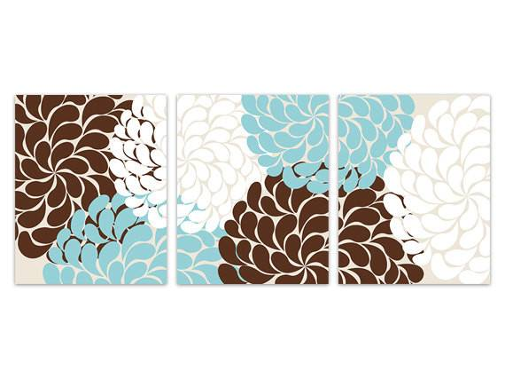 Home Decor Wall Art Blue Brown Flower Burst Canvas