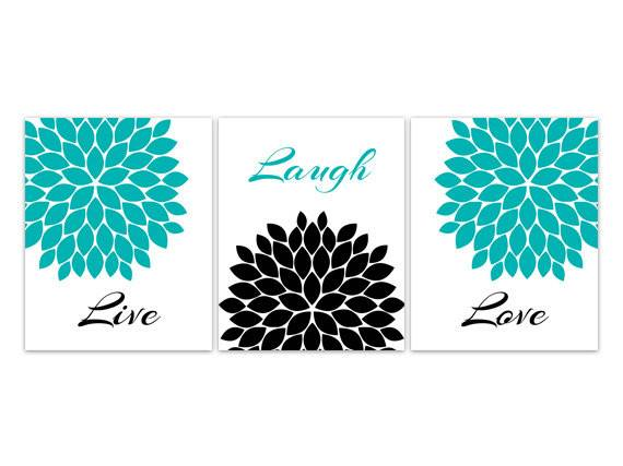 Home Decor Wall Art Live Laugh Love Canvas Turquoise