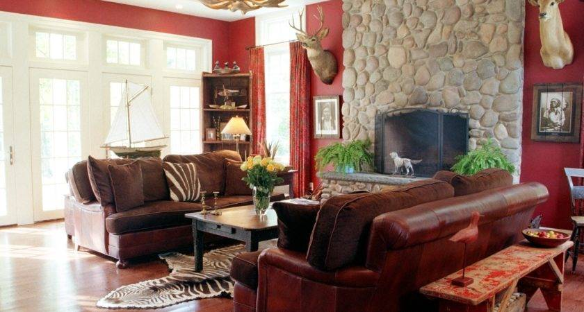 Home Design Red Cream Brown Living Room Ideas