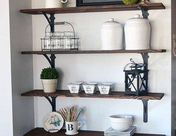 Hometalk Diy Stained Open Shelving Kitchen