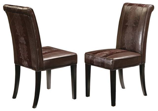 Horizon Dining Chair Brown Crocodile Transitional