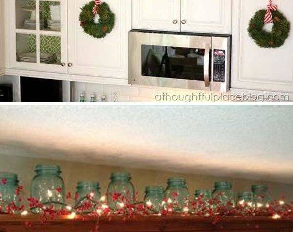 Ideas Decorating Above Kitchen Cabinets Christmas