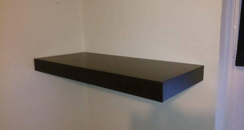 Ikea Persby Wall Shelf Black Brown Chunky Floating