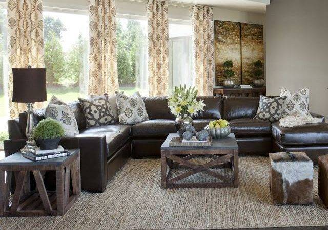 Impressive Living Room Brown Leather Sofa