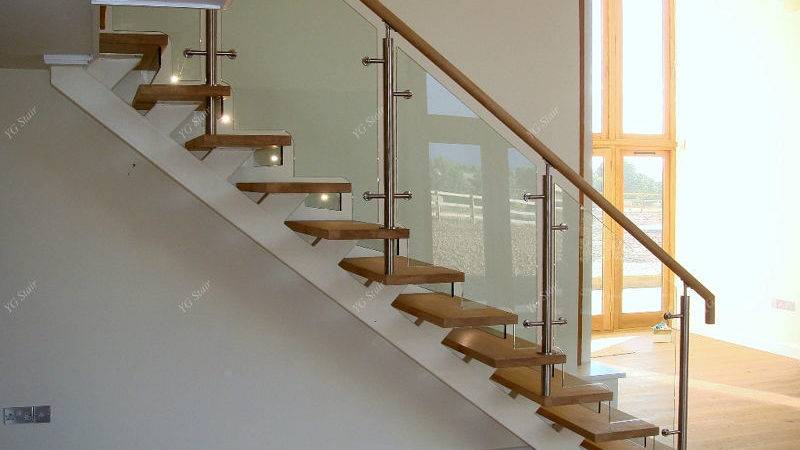 Indoor Stair Design Wood Tread Glass Railing