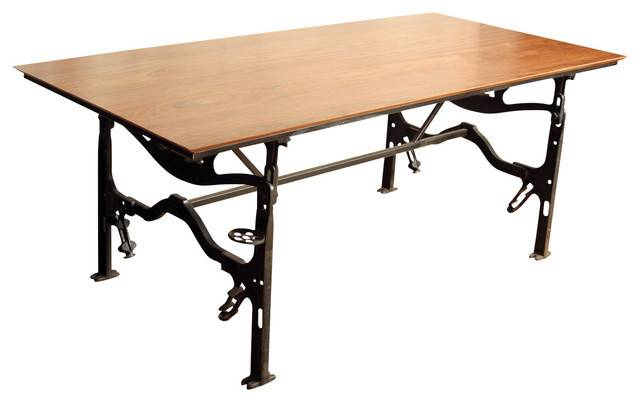 Industrial Dining Table Cast Iron Base Jatoba Top