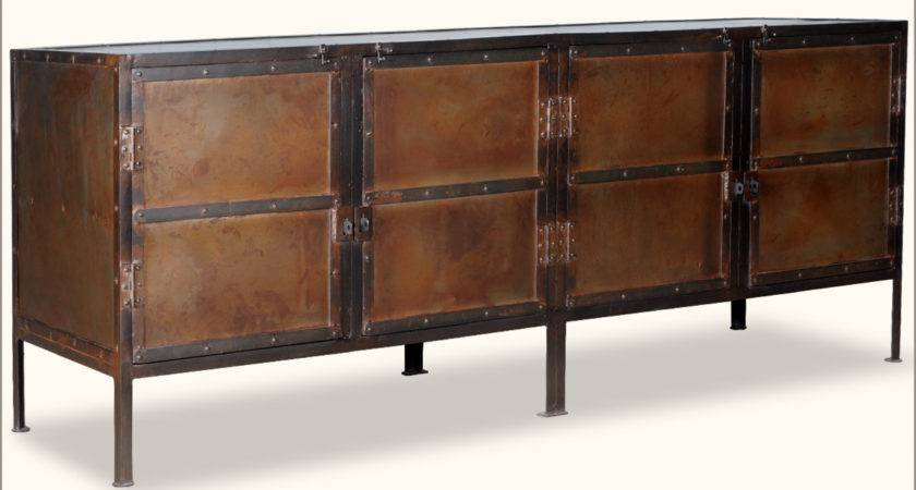 Industrial Iron Door Rustic Storage Buffet Sideboard