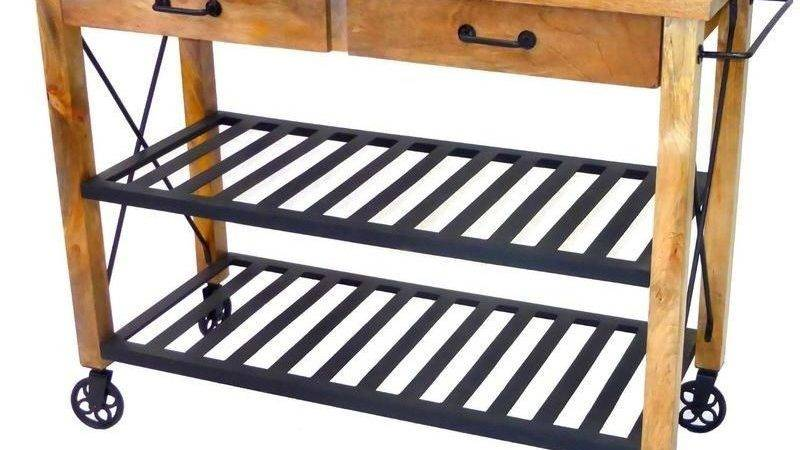 Industrial Iron Wood Kitchen Trolley Natural Black Buy