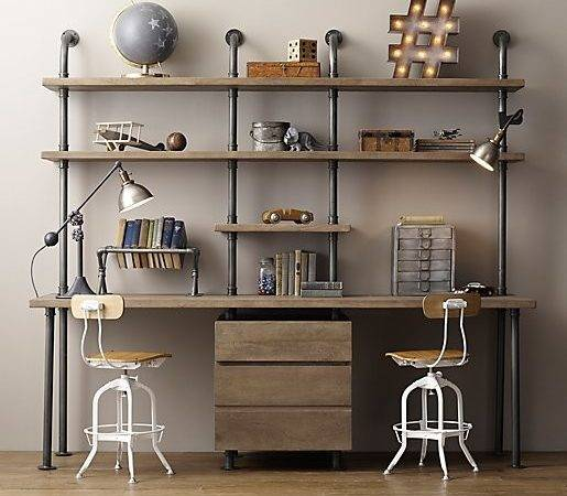 Industrial Pipe Double Desk Shelving Drawers