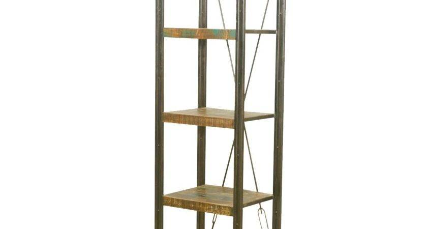 Industrial Reclaimed Wood Iron French Library Narrow
