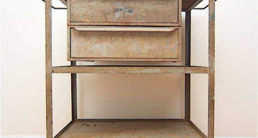 Industrial Vintage Mid Century Rolling Cart Trolley Table