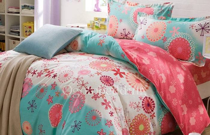 Inexpensive Blue Cute Patterned Queen Teen Bedding Sets