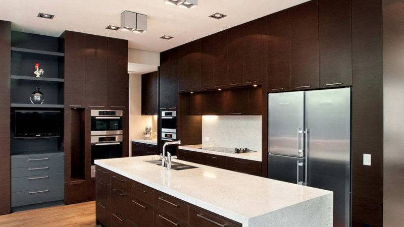 Inspirational Kitchens Combine Dark Wood Cabinetry