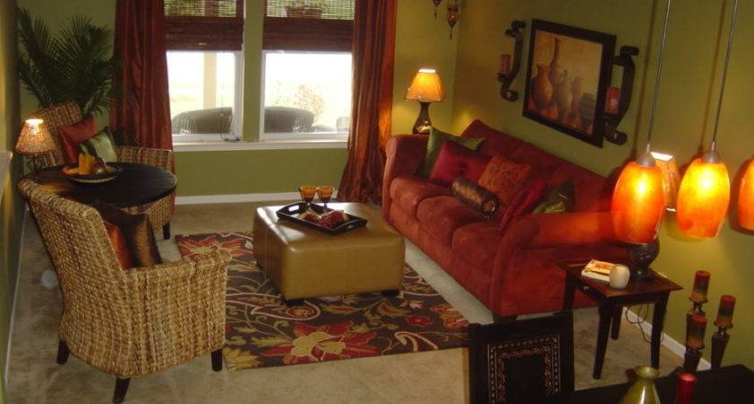Interior Awesome Red Brown Living Room