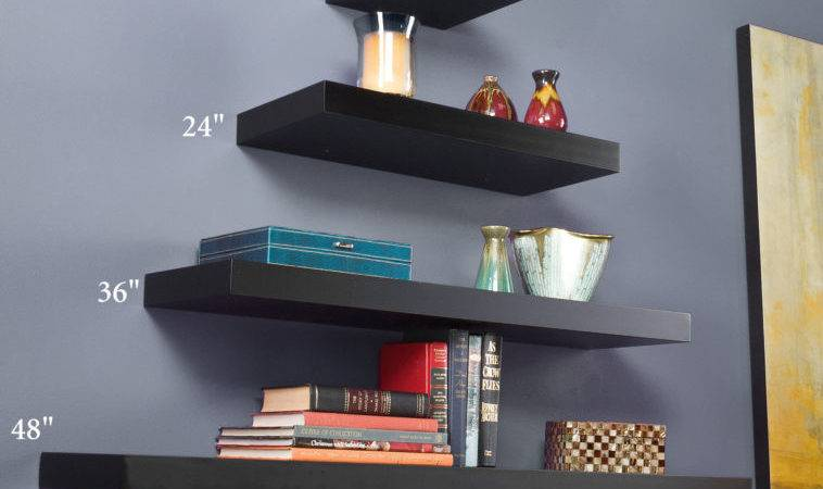 Interior Black Pyramid Pattern Floating Book Shelves